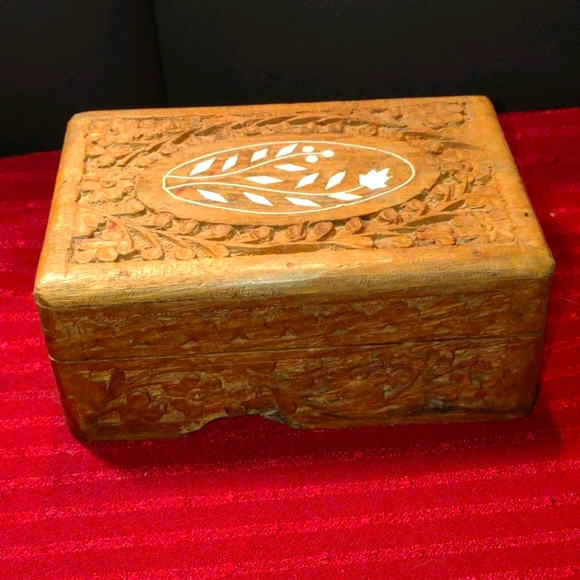 100 Year Old Handcrafted and Carved Jewelry Box